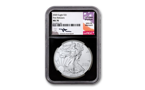 2020 $1 1-oz Silver Eagle NGC MS70 First Releases w/Black Core & Mercanti Signature