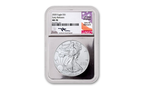 2020 $1 1-oz Silver Eagle NGC MS70 Early Releases w/Silver Foil Core & Mercanti Signature