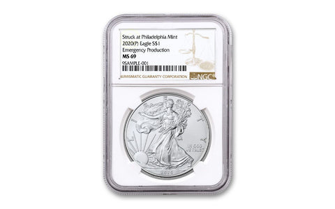 2020-(P) Silver Eagle Struck at Philadelphia NGC MS69 Brown Label