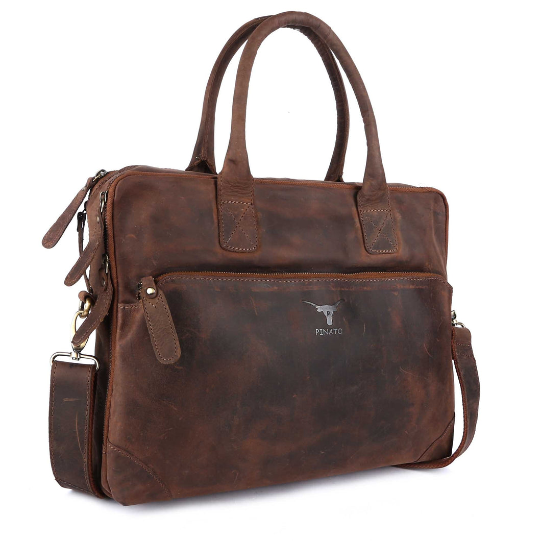 Pinato(PL-2118) Genuine Leather Cognac Messenger Laptop Bag for Men & Women