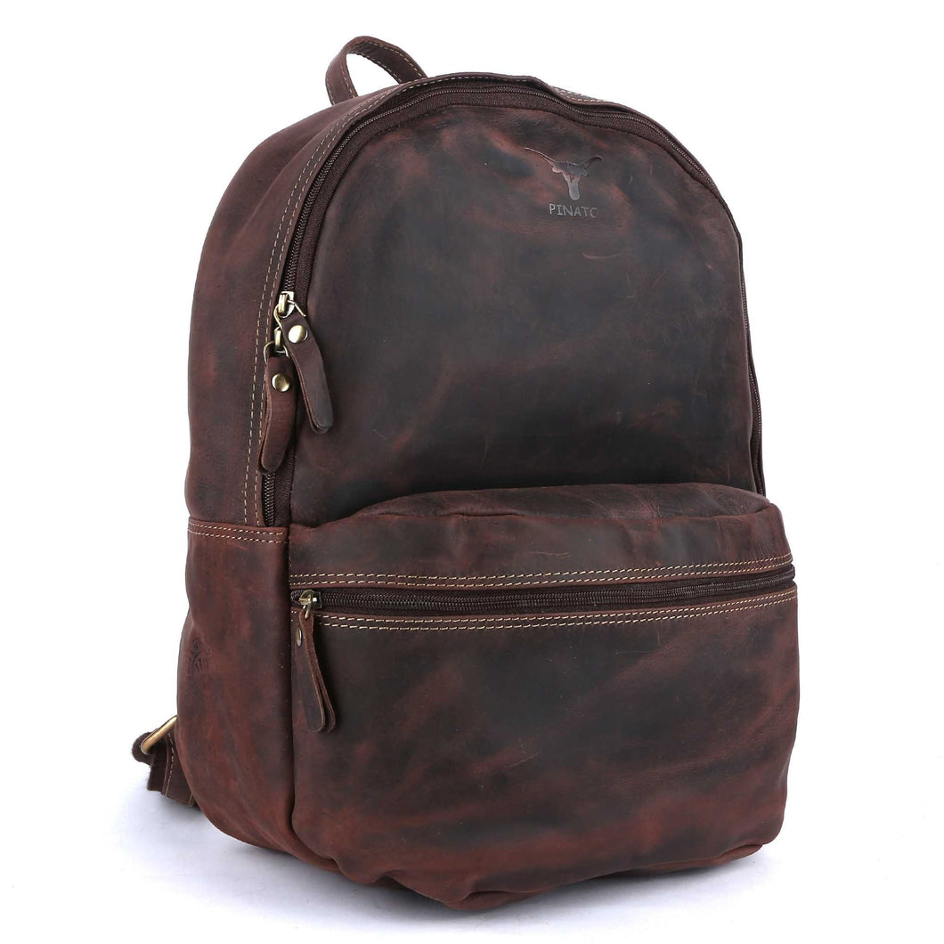 Pinato(PL-2318) Genuine Leather Backpack Brown for Women & Men