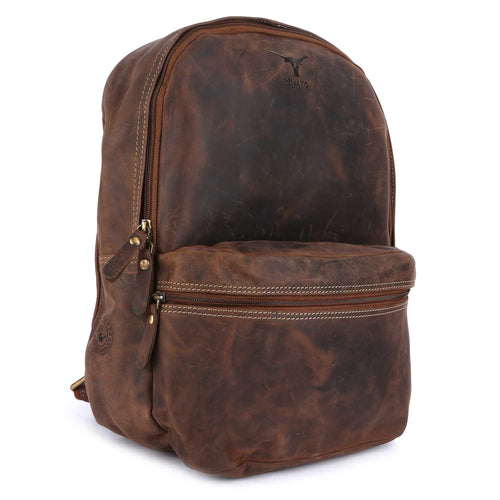 Pinato Handmade Camel Backpack from Genuine Distress Leather with Oily Effect For Men & Women
