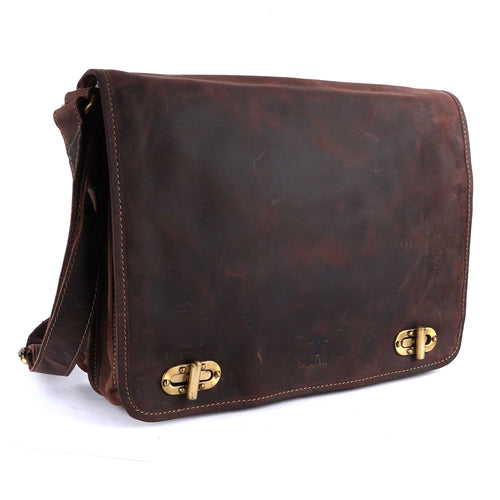 Pinato Handmade Brown Messenger Laptop Bag Cum Briefcase from Genuine Distress Leather For Men & Women