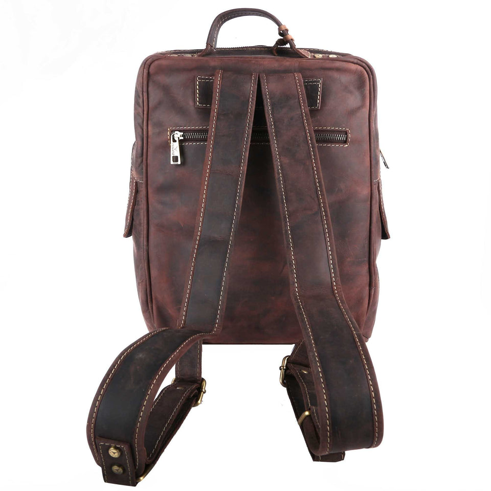 Pinato Genuine Leather Backpack Brown for Women & Men (PL-2618)