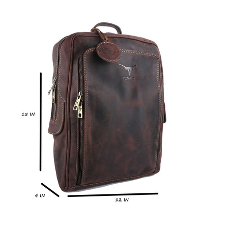 Pinato Handmade Brown Backpack from Genuine Distress Leather with Oily Effect For Men & Women