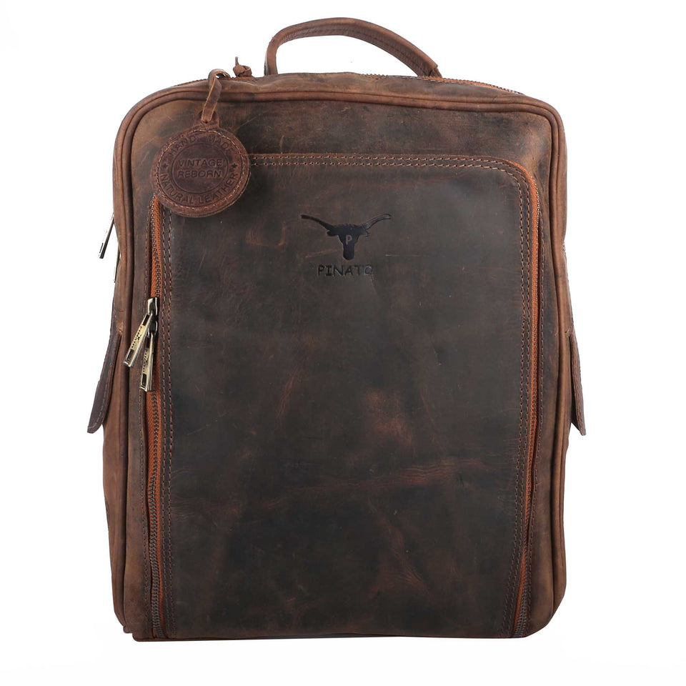 Pinato(PL-2618) Genuine Leather Cognac Backpack for Men & Women