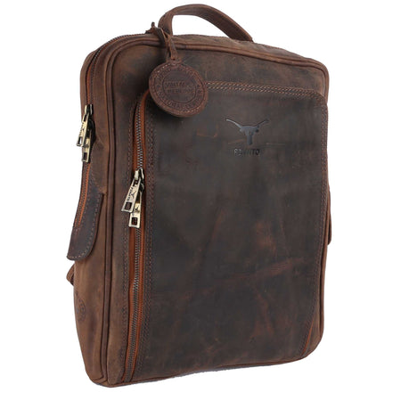 Pinato Handmade Cognac Backpack from Genuine Distress Leather with Oily Effect For Men & Women