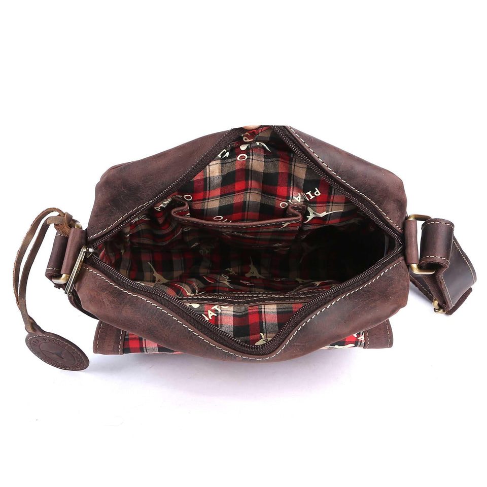 Pinato Handmade Brown Messenger Bag from Genuine Distress Leather with Oily Effect For Men & Women