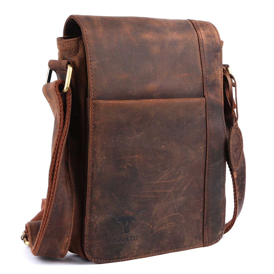 Pinato Handmade Cognac Messenger Bag from Genuine Distress Leather with Oily Effect For Men & Women