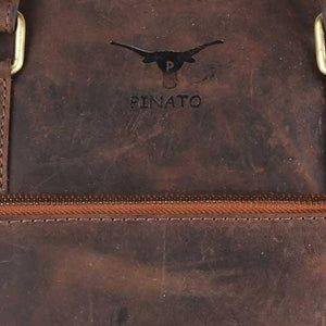 Pinato Handmade Cognac Messenger Laptop Bag Cum Briefcase from Genuine Distress Leather For Men & Women