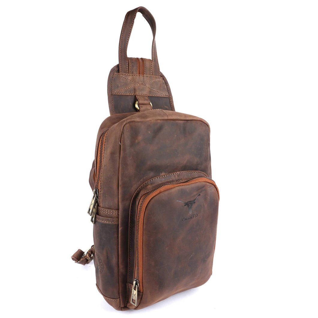 Pinato(PL-4018) Genuine Leather Cognac Backpack for Men & Women