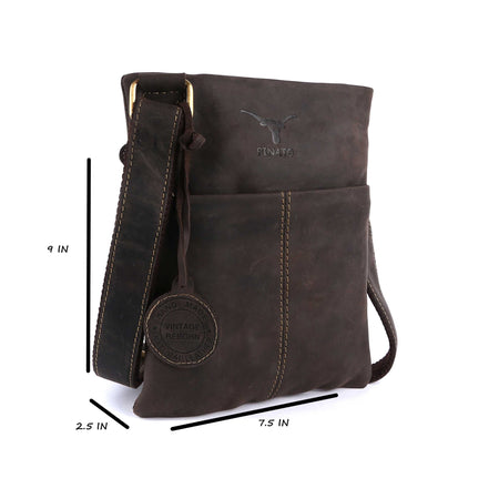 Pinato Genuine  Leather Messenger Bag Brown for Women & Men (PL-4318)
