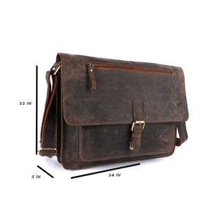 Pinato(PL-5018) Leather Cognac Briefcase Portfolio, Messenger Bag for Men & Women