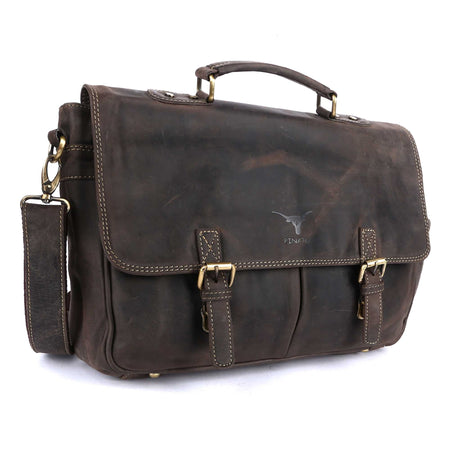 Pinato Handmade Brown Briefcase Portfolio Bag Messenger Bag from Genuine Distress Leather For Men & Women