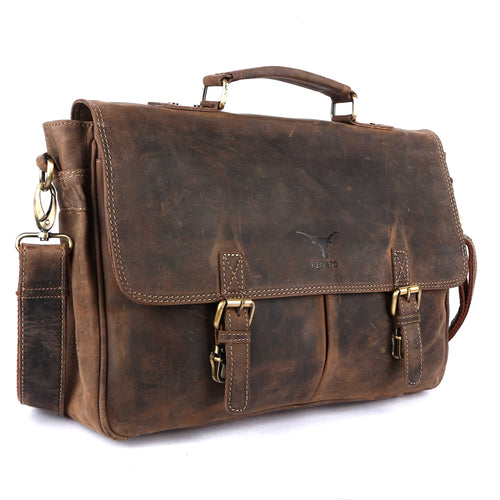 Pinato Handmade Camel Briefcase Portfolio Bag Messenger Bag from Genuine Distress Leather For Men & Women