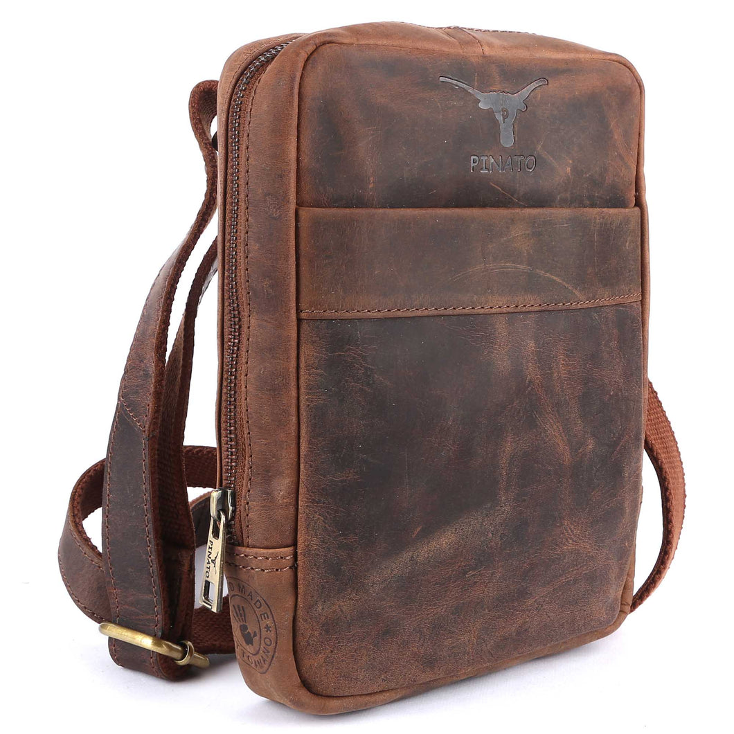 Pinato(PL-5618) Genuine Leather Cognac Messenger Bag for Men & Women