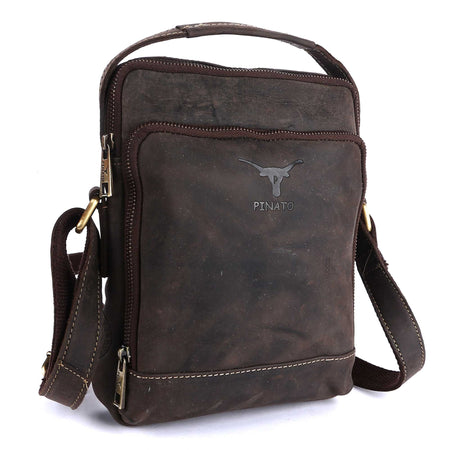 Pinato(PL-5718) Genuine Leather Messenger Bag Brown for Women & Men
