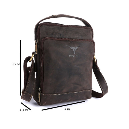 Pinato Genuine Leather Messenger Bag Brown for Women & Men (PL-5718)
