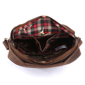Pinato Handmade Camel Messenger Bag from Genuine Distress Leather with Oily Effect For Men & Women