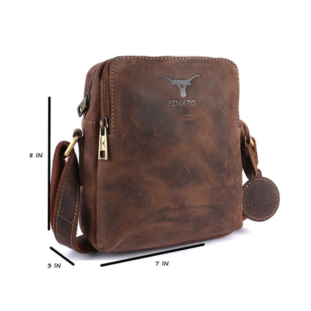 Pinato(PL-5818) Genuine Leather Camel Messenger Bag for Men & Women