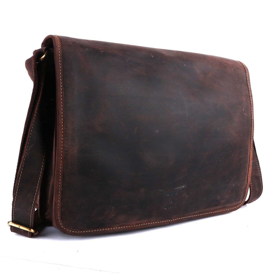 Pinato(PL-6518) Genuine Leather Laptop Bag Brown for Men & Women