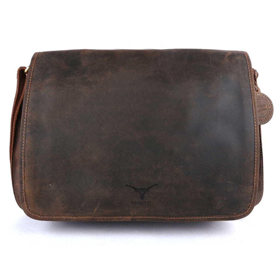 Pinato Handmade Camel Messenger Laptop Bag Cum Briefcase from Genuine Distress Leather For Men & Women
