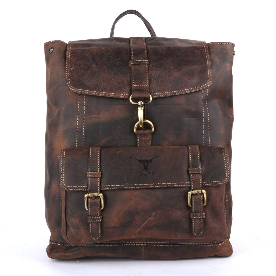 Pinato Genuine Leather Camel Backpack for Women & Men (PL-7717)