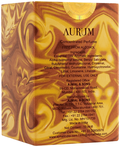 Ajmal Aurum Attar 10ml Pack Back Side
