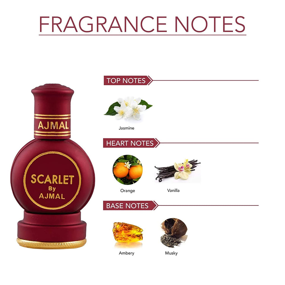 Ajmal Scarlet Attar 12ml Notes