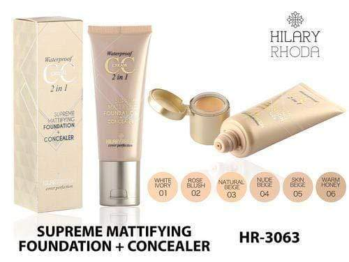 Hilary Rhoda Waterproof CC Cream Supreme Mattifying Foundation Concealer, Skin Beige HR-3063-06