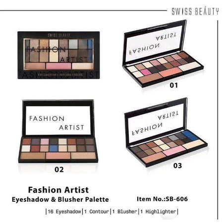 Buy Swiss Beauty Makeup Kit Fashion Artist Eyeshadow and Blusher Palette SB-606-02 Low Price Online, Cash On Delivery Available