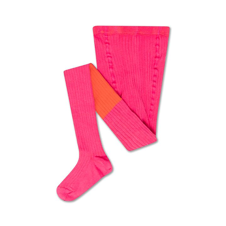 REPOSE / Tights hot pink firy red color block