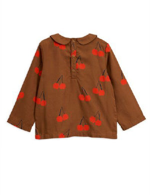 MINI RODINI / Cherry woven pleat blouse