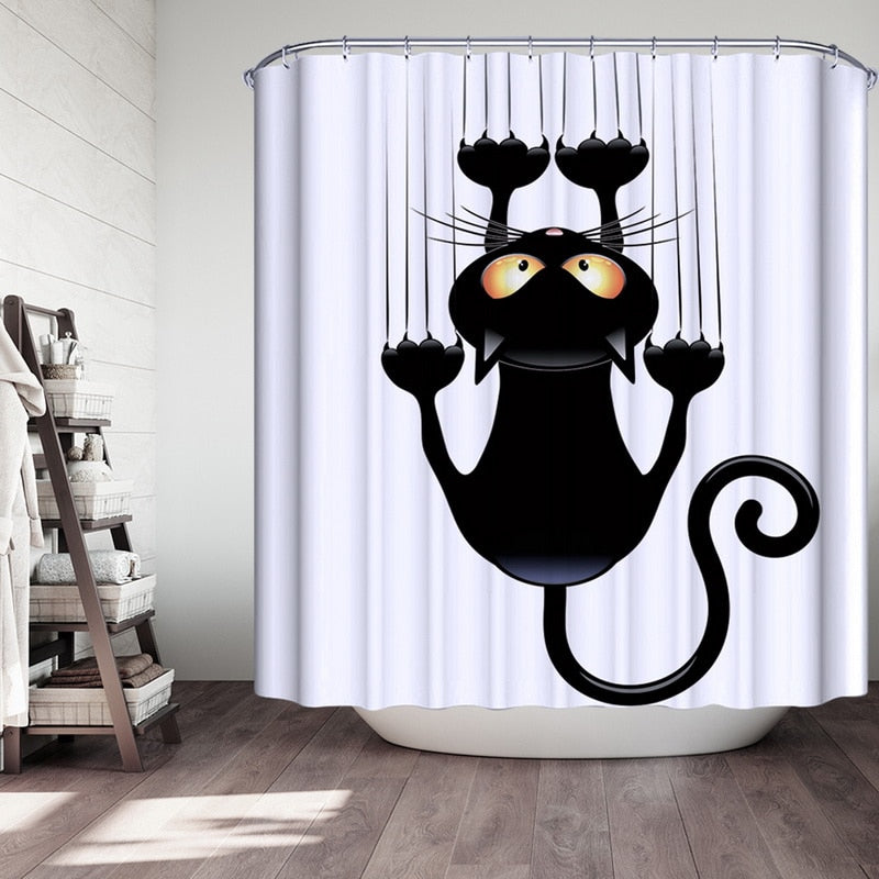 Cat Bath Shower Fabric Bathroom Curtains