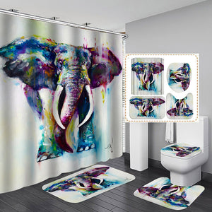 Funny Elephant Waterproof Shower Curtain 4 Piece Bathroom Set Carpet Cover Toilet Cover Bath Mat