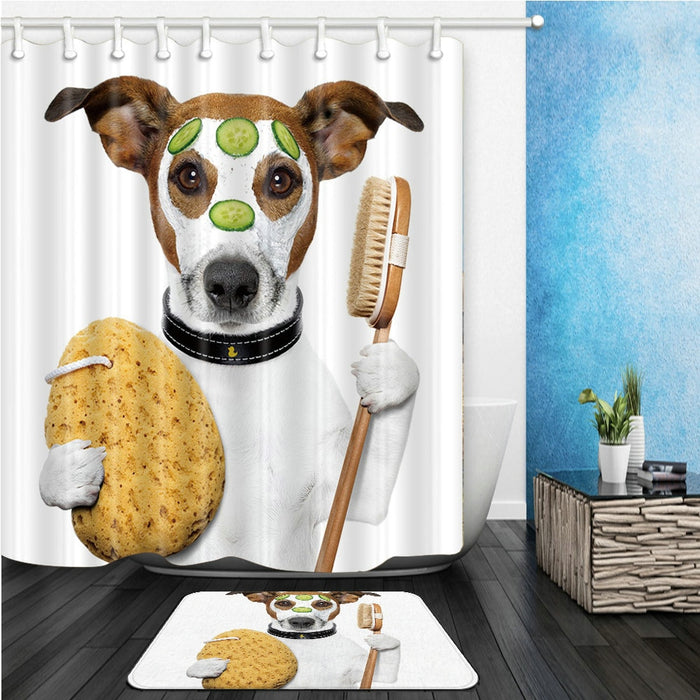 Funny Dog Shower Curtains Set Cute Animal Take Bath Cute Pet Bathroom Decor Home Bathtub Curtain and Flannel Mat Carpet Cheap