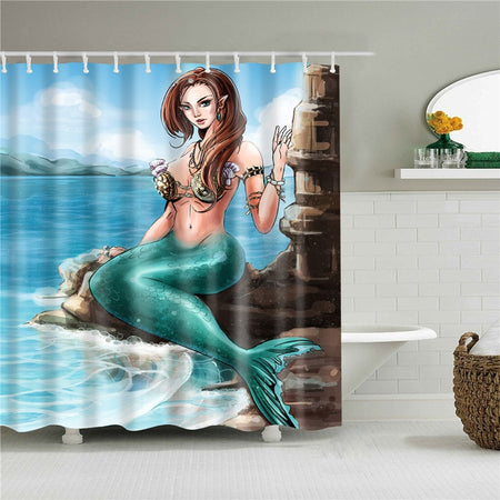 Waterproof Shower Curtain For Bathroom Funny Mermaid Print  with 12 pcs hooks