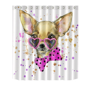 72'' A Cute Dog With Pink Glasses And A Bow Tie Bathroom Fabric Shower Curtain Polyester 12 Hooks Bath Accessory Sets