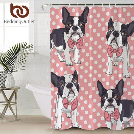 Cartoon dog Bathroom Shower Curtain pug/terrier  Dog Waterproof Decorative Bath Curtain With Hooks Pink for Girls