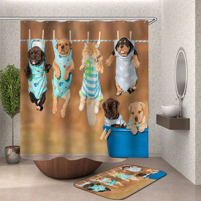 Dog Shower Curtain Bathroom curtain shower curtains bathroom curtain hooks waterproof water repellent bathroom