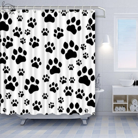 Black White Paw  Pattern Fabric Shower Curtain Polyester Waterproof