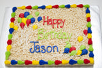 Load image into Gallery viewer, 1/2 Sheet Decorated Rice Krispie Cake
