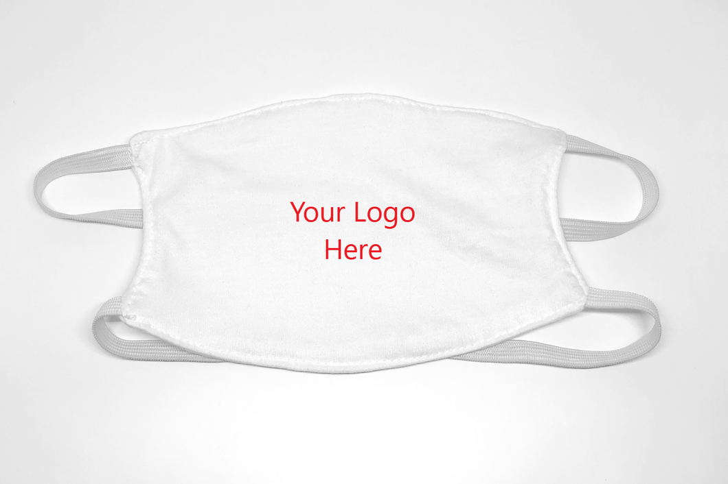White Reusable Cloth Face Mask With Logo - Box of 500