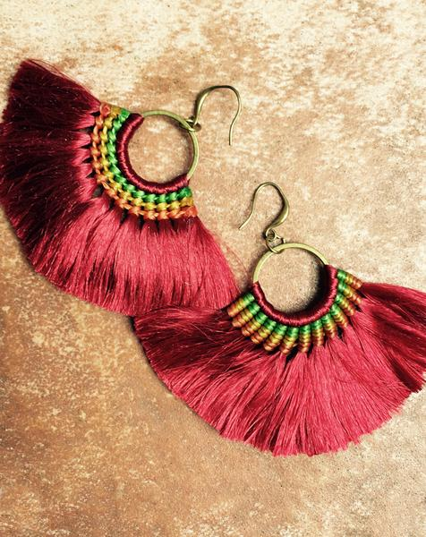 Fringe Tassel Burgundy Boho Earrings