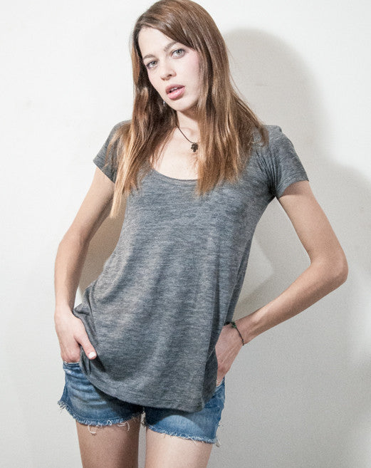 Heather Grey Flowy Tee