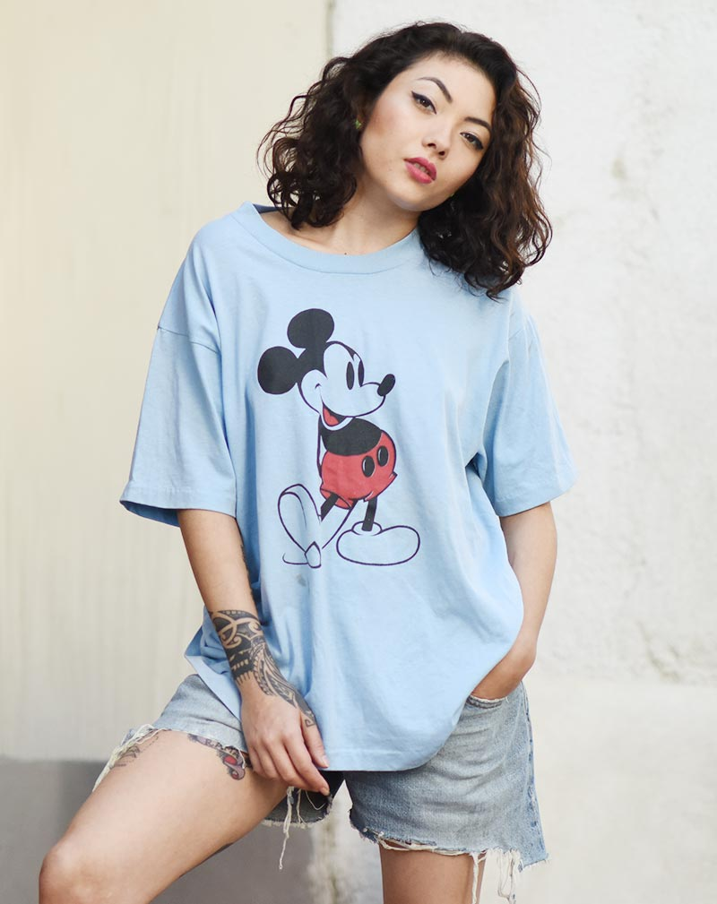 Vintage Mickey Mouse Tee - Light Blue