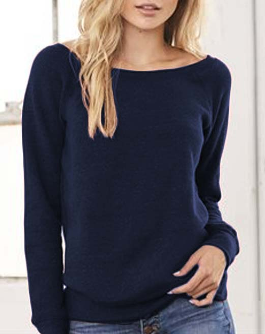 Wide Neck Navy Blue Slouchy Sweatshirt