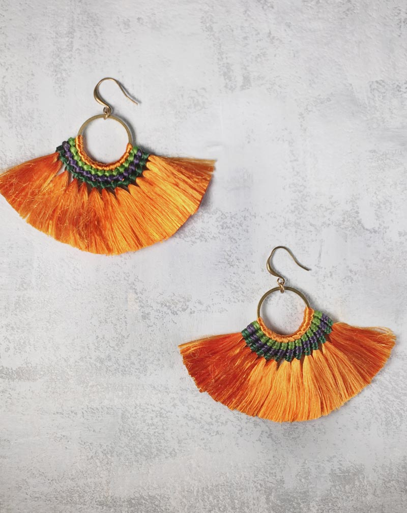 Fringe Tassel Orange Boho Earrings