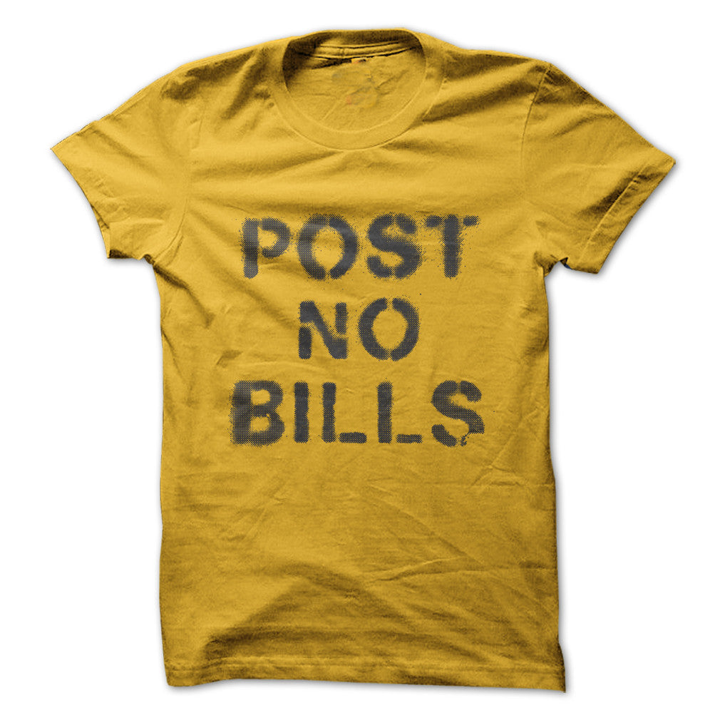 Mustard Yellow and Gray Post No Bills Spray Paint Graphic T-Shirt