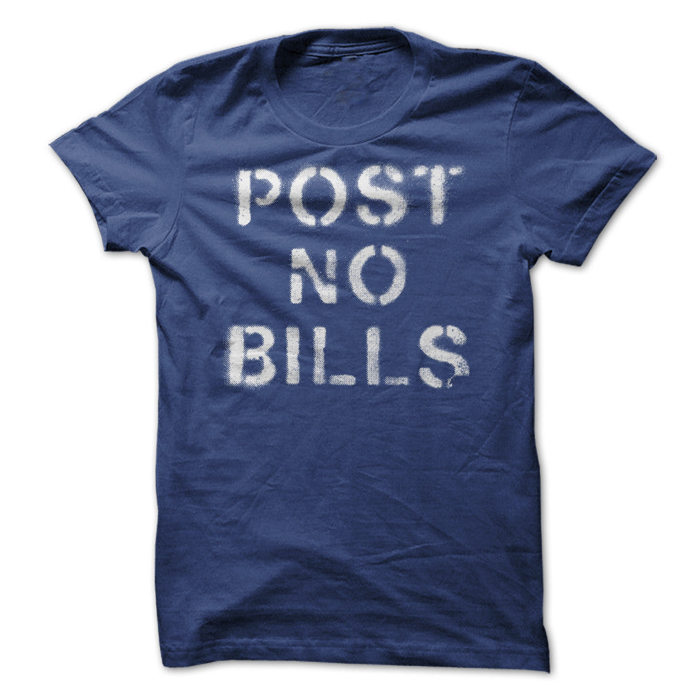 Blue and Gray Post No Bills Spray Paint Graphic T-Shirt